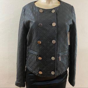 Vertigo Paris Quilted Faux Leather Black Jacket S